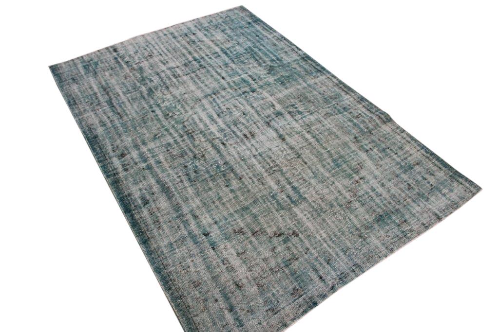 NIEUW BINNEN blauw groen versleten look vloerkleed  uit Turkije 278cm x 169cm, no 529