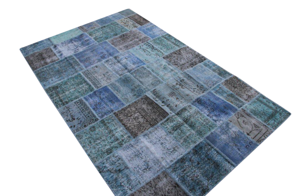 Blauw grijs patchwork vloerkleed  5298D (306cm x 194cm)  VERKOCHT!