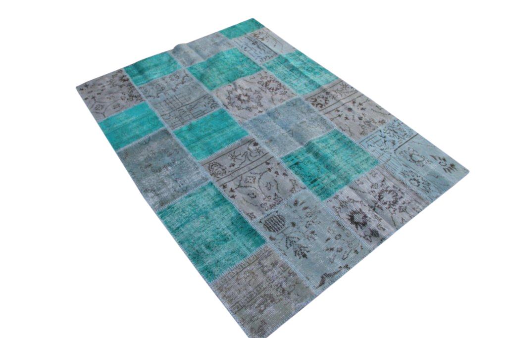Vintage patchwork vloerkleed 5304 (239cm x 170cm) gemaakt van oude recoloured vloerkleden