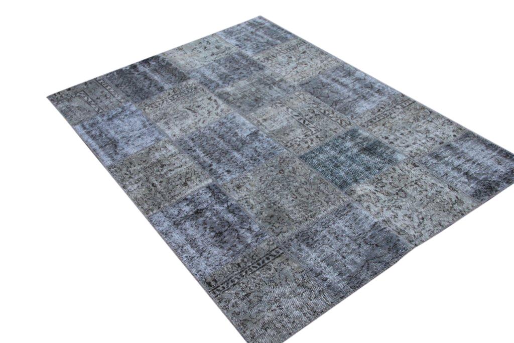 Grijs patchwork vloerkleed 5336 (240cm x 170cm) gemaakt van oude recoloured vloerkleden