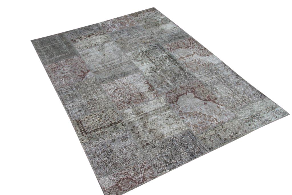 Licht patchwork vloerkleed 5340 (240cm x 170cm) gemaakt van oude recoloured vloerkleden
