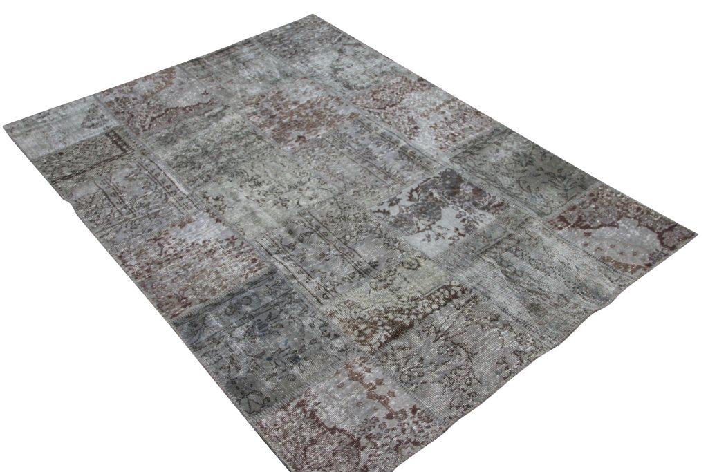 Grijs patchwork vloerkleed 5342 (240cm x 170cm) gemaakt van oude recoloured vloerkleden