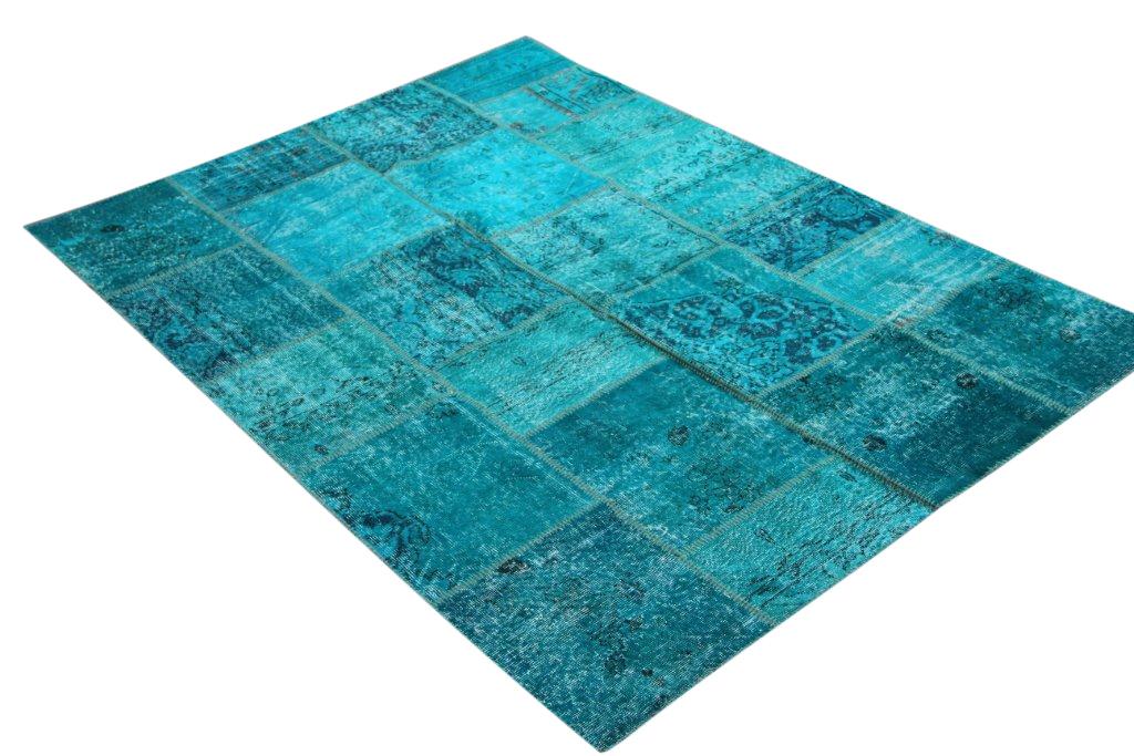Blauw patchwork vloerkleed 5343 (240cm x 170cm) gemaakt van oude recoloured vloerkleden