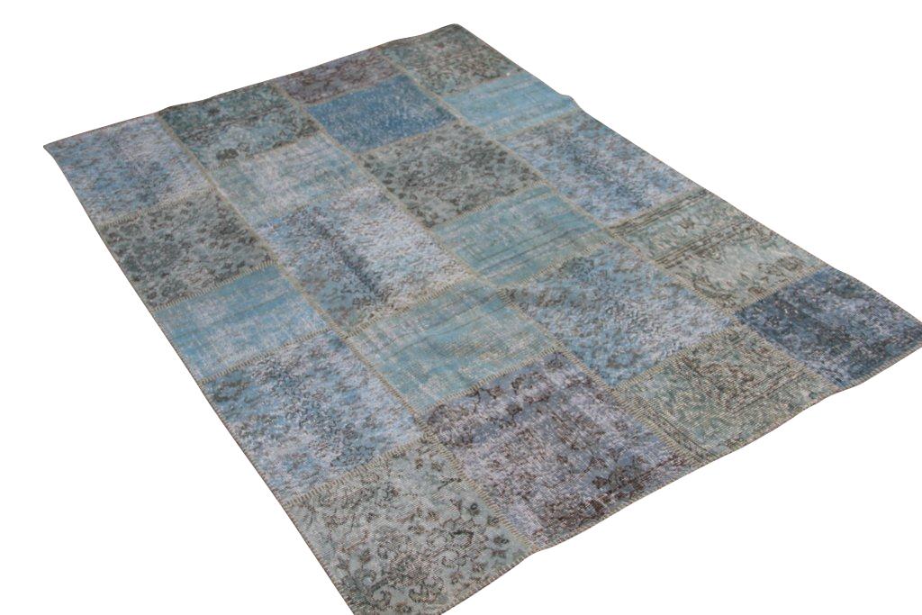 Blauw patchwork vloerkleed 5344 (240cm x 170cm) gemaakt van oude recoloured vloerkleden