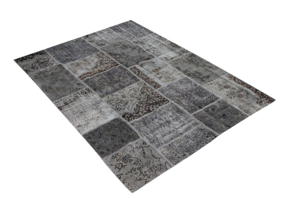 Grijs patchwork vloerkleed   5349 (240cm x 170cm) gemaakt vintage vloerkleden incl.onderkleed van katoen.