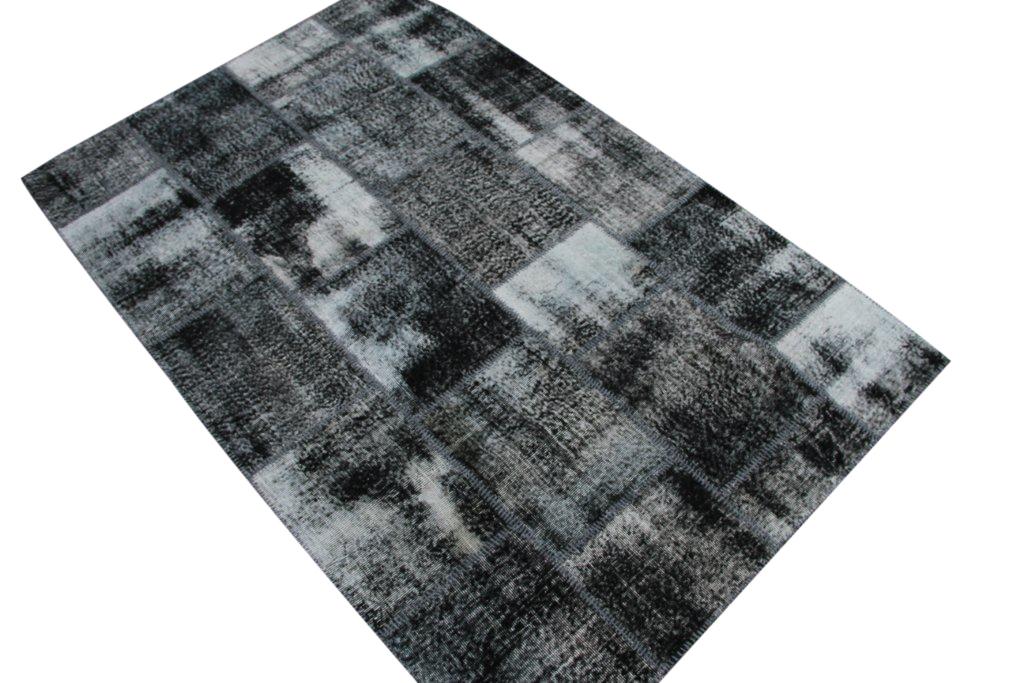 NIEUW BINNEN: antraciet patchwork vloerkleed uit Turkije  246cm x 163cm, no 5364