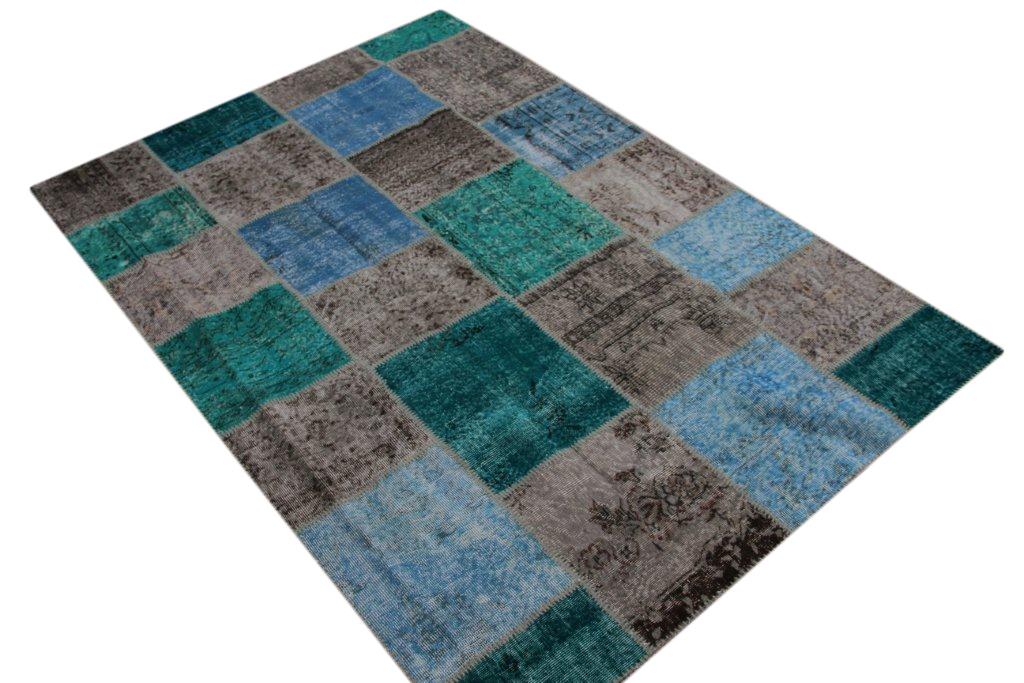 Grijs met blauw patchwork vloerkleed uit Turkije  242cm x 171cm, no 5384