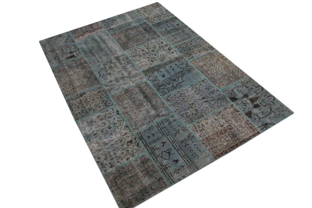Ijsblauw patchwork vloerkleed uit Turkije  238cm x 170cm, no 5393