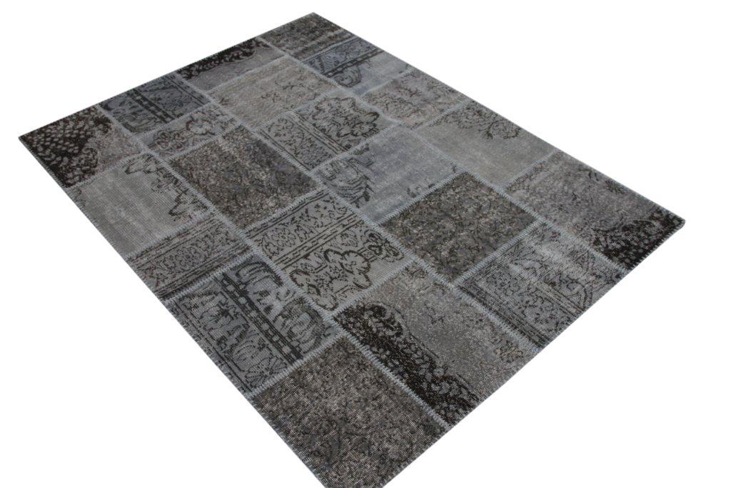 NIEUW BINNEN: grijs met bruin patchwork vloerkleed uit Turkije  229cm x 170cm, no 5399