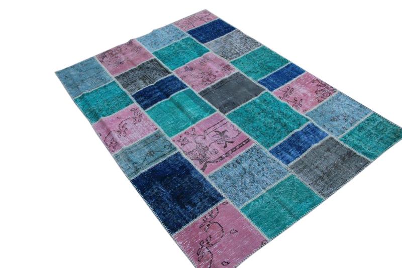 Patchwork vloerkleed, roze blauw groen, 242cm x 170cm