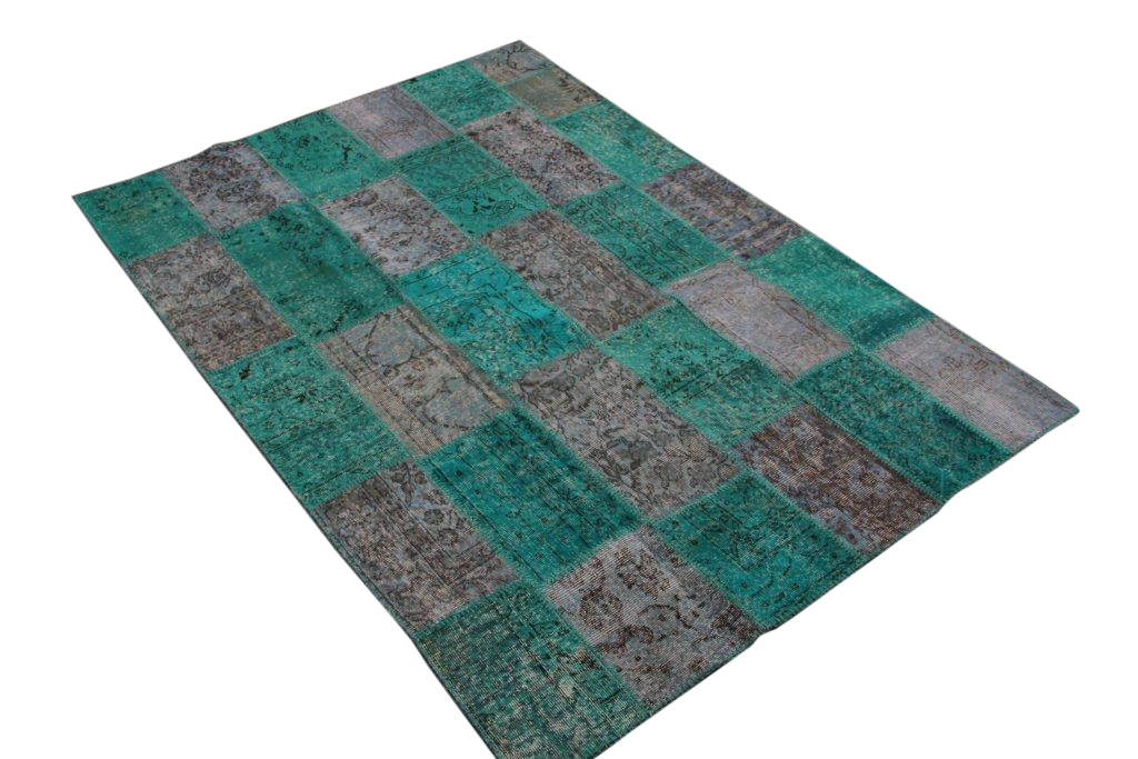 NIEUW Ingekocht:blauw patchwork vloerkleed uit Turkije  232cm x 158cm, no 5408