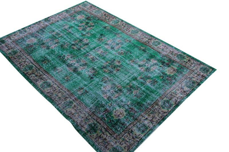 Vintage vloerkleed, groen, 244cm x 168cm