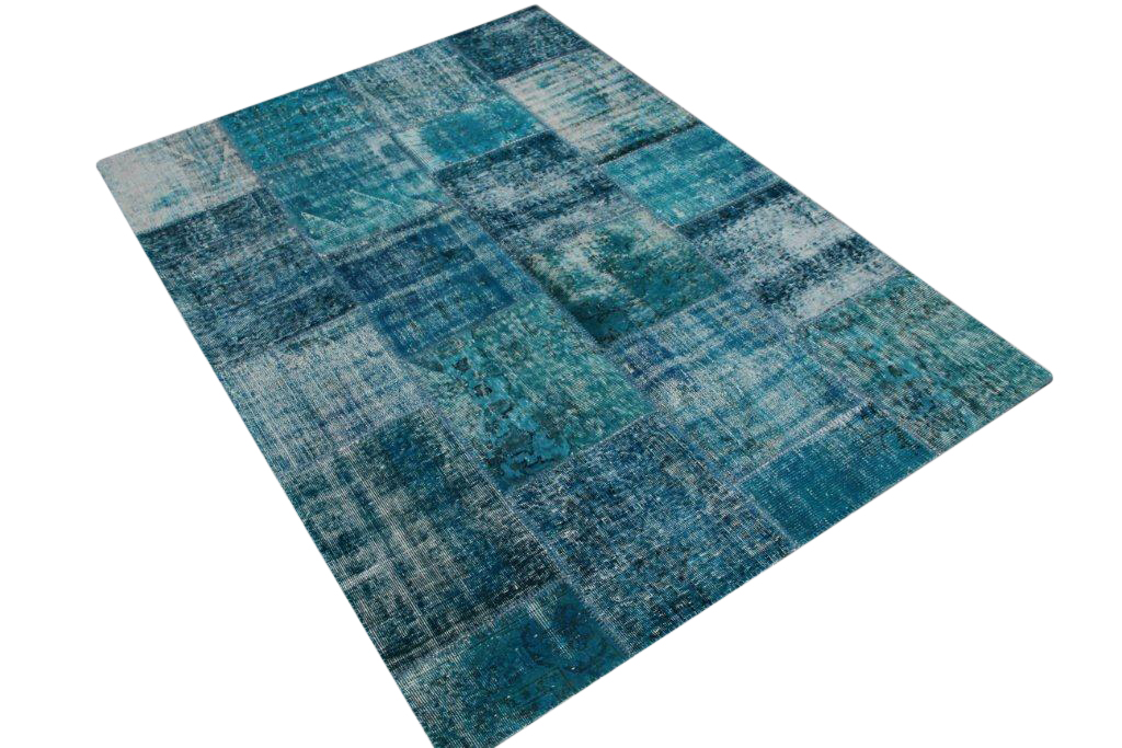 Blauw patchwork vloerkleed   6022  (240cm x 170cm) VERKOCHT