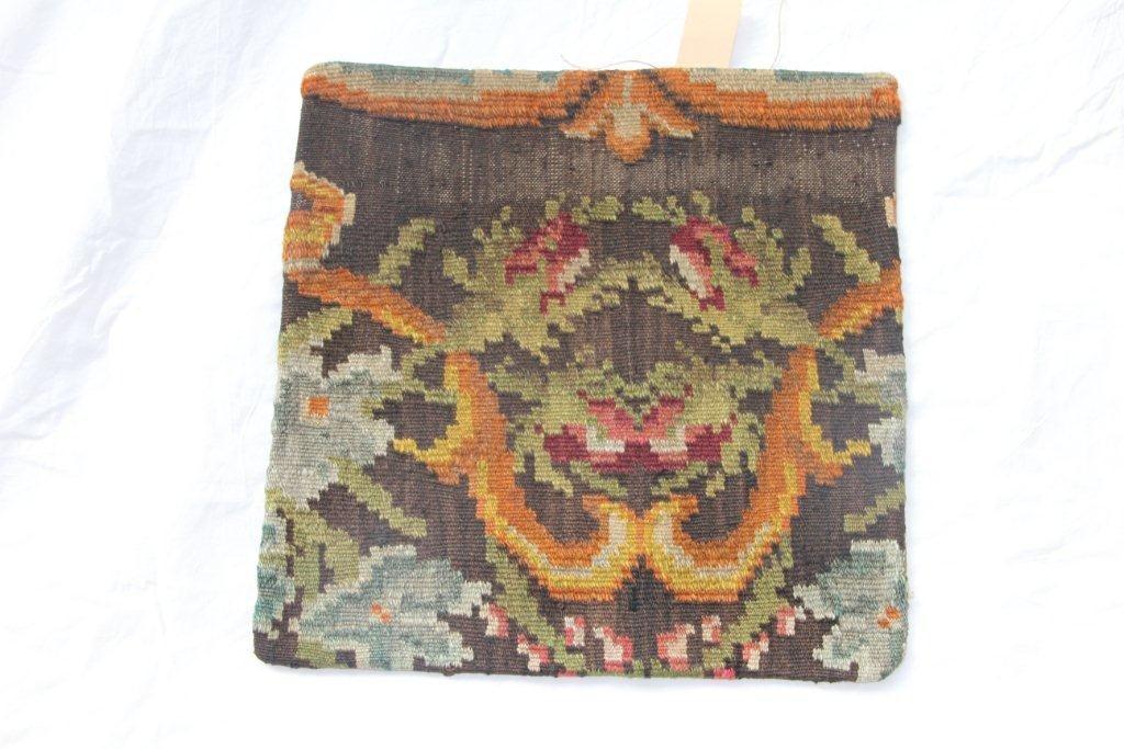 Kelim kussen no 603 (45cm x 45cm) Vintage kussen gemaakt van unieke rozenkelim