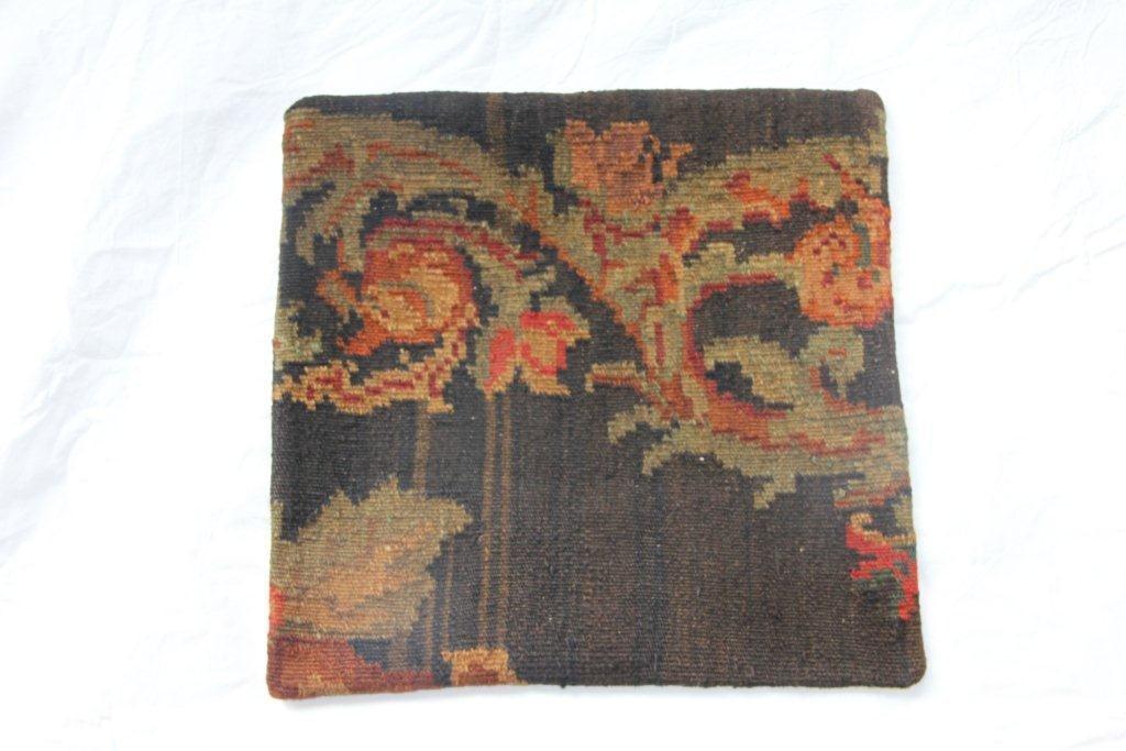Kelim kussen no 606 (45cm x 45cm) Vintage kussen gemaakt van unieke rozenkelim