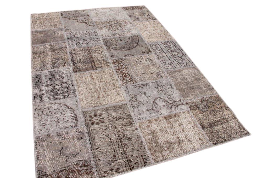 Grijs patchwork vloerkleed 240cm x 170cm 6119