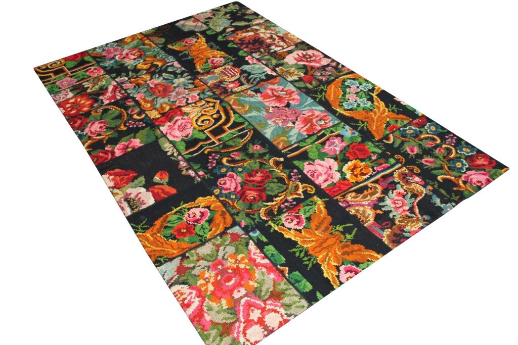 Patchwork vloerkleed, rozenkelim, 303cm x 201cm