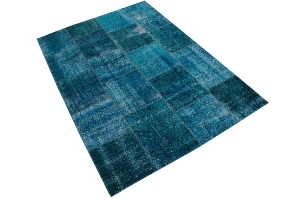Blauw patchwork vloerkleed 240cm x 170cm