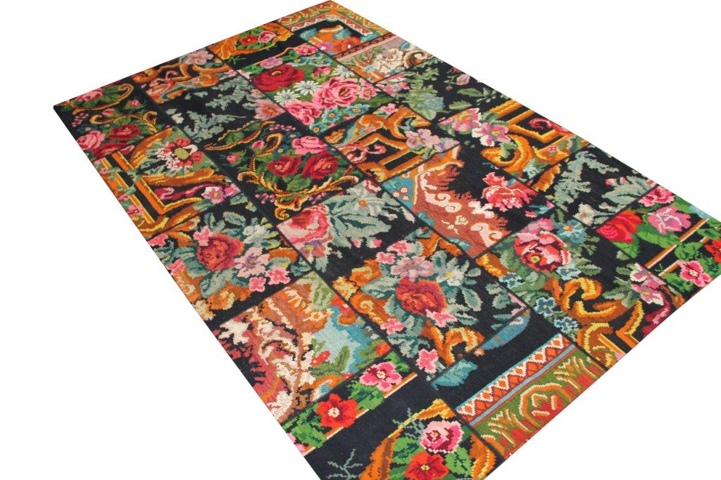 Rozenkelim patchwork  614(304cm x 202cm) rozenkelim patchwork, inclusief onderkleed van katoen.