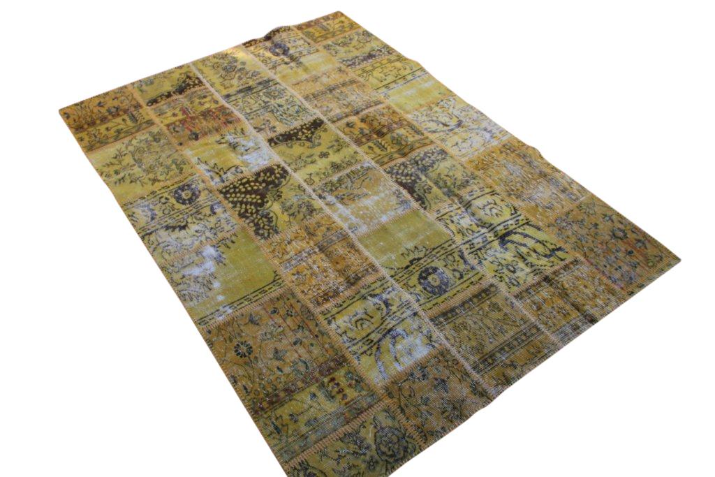 Patchwork vloerkleed, okergeel, 242cm x 173cm