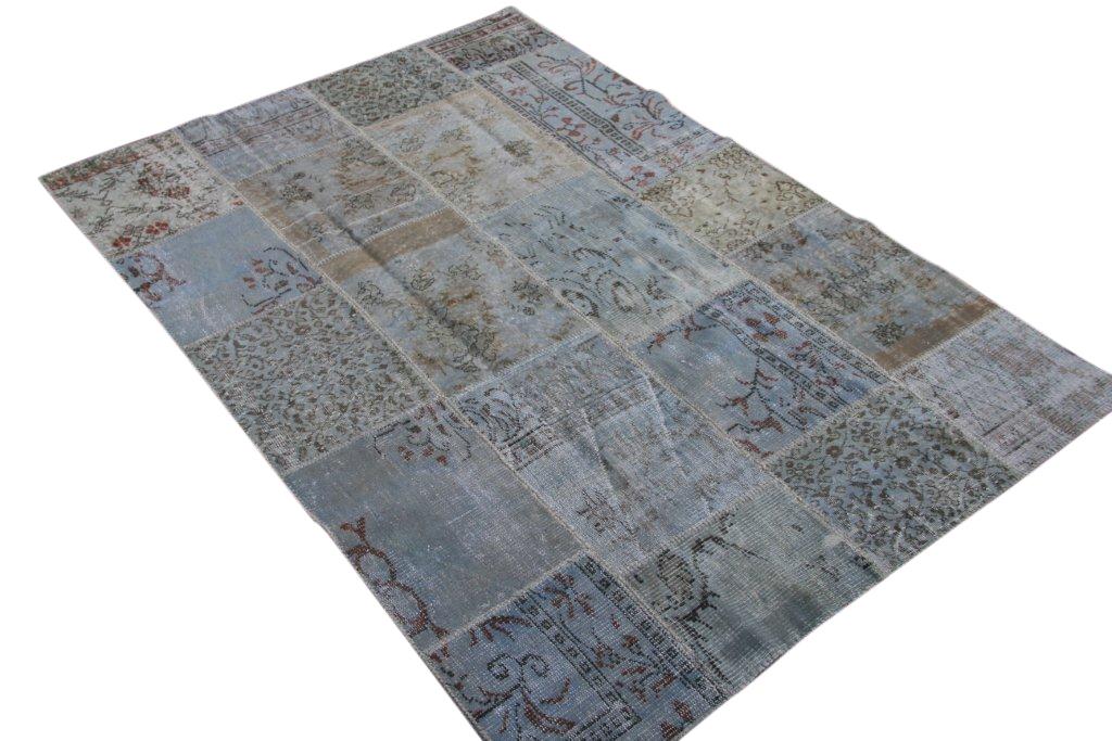 Licht blauw patchwork vloerkleed uit Turkije  240cm x 170cm, no 6215