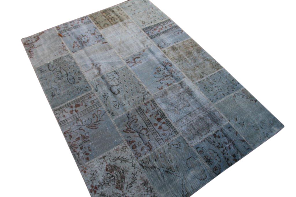 Licht blauw patchwork vloerkleed uit Turkije  240cm x 170cm, no 6217