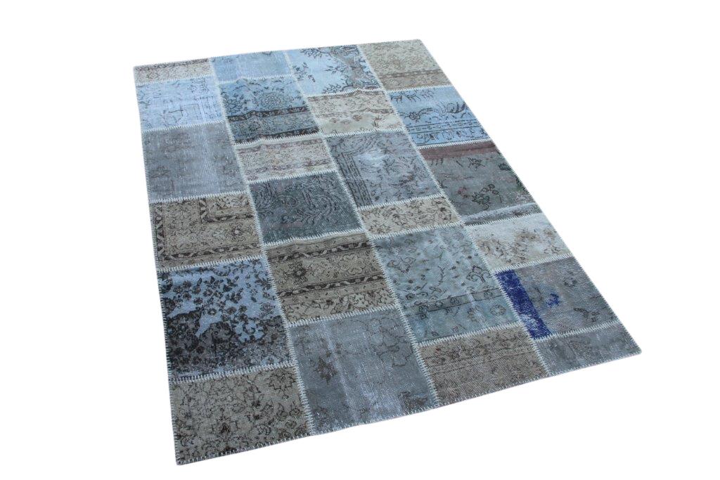 Grijs bruin blauw patchwork vloerkleed uit Turkije  240cm x 174cm, no 6304