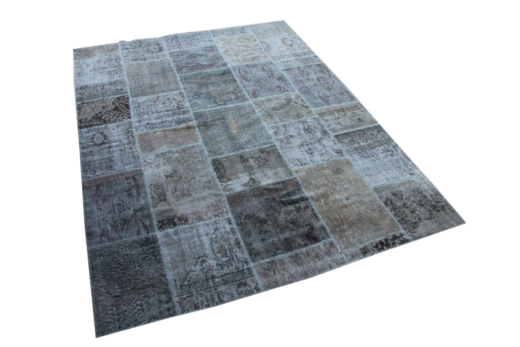 Grijs blauw patchwork vloerkleed uit Turkije  296cm x 220cm, no 6378