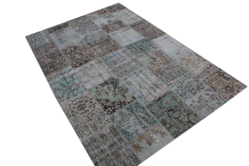 Misty green patchwork vloerkleed uit Turkije  301cm x 204cm, no 6395
