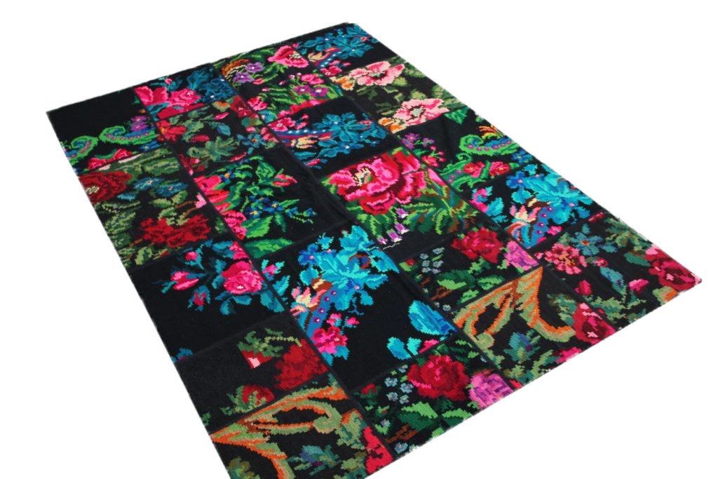Patchwork vloerkleed, rozenkelim, 246cm x 175cm