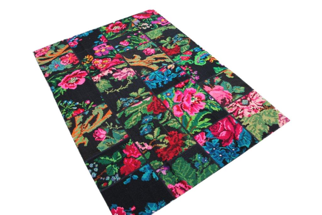 Patchwork vloerkleed, rozenkelim, 248cm x 177cm