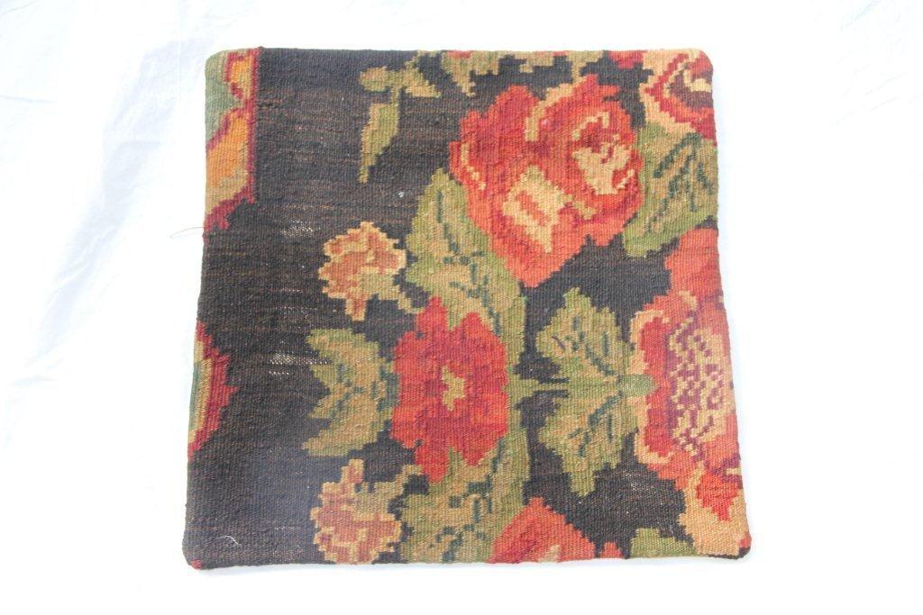 Kelim kussen no 652 (50cm x 50cm) Vintage kussen gemaakt van bloemen kelim uit Moldavie