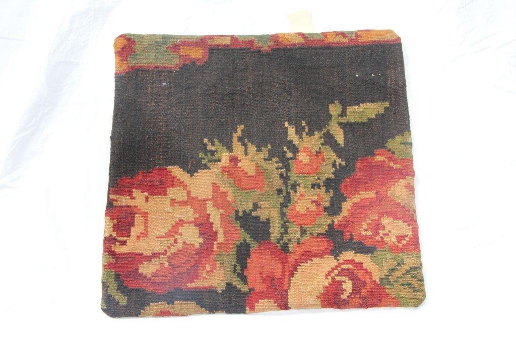 Kelim kussen no 654 (50cm x 50cm) Vintage kussen gemaakt van bloemen kelim uit Moldavie