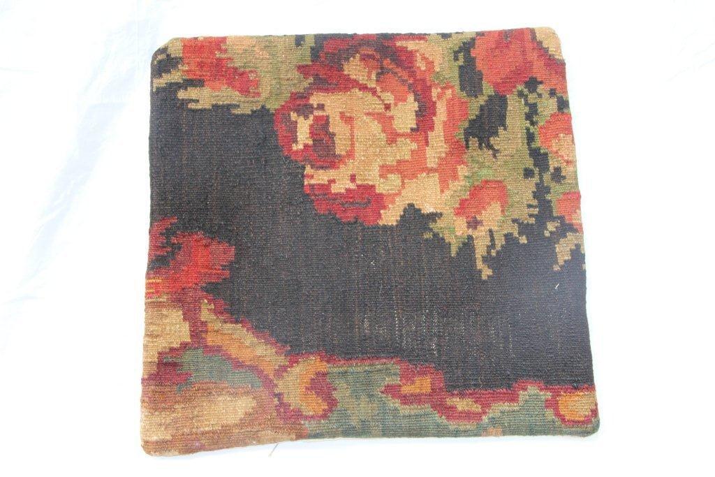 Kelim kussen no 656 (50cm x 50cm) Vintage kussen gemaakt van bloemen kelim uit Moldavie