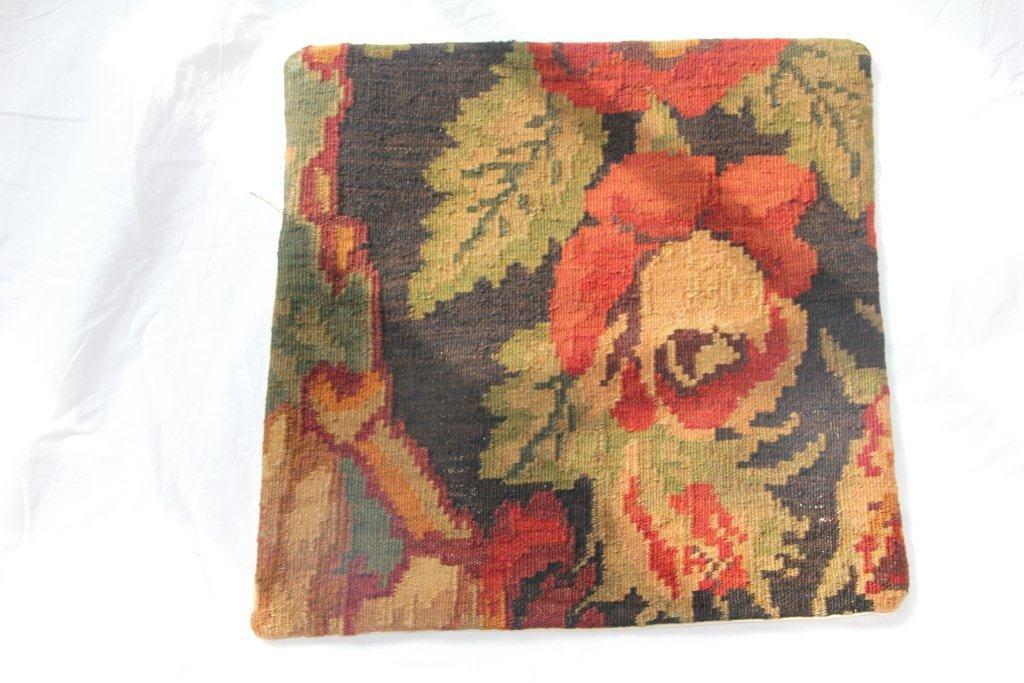 Kelim kussen no 662 (50cm x 50cm) Vintage kussen gemaakt van bloemen kelim uit Moldavie