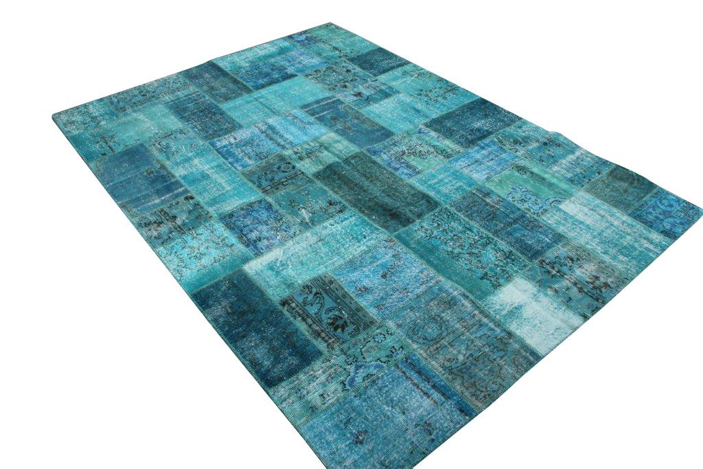 Aqua blauw patchwork vloerkleed 662 (352cm x 250cm) Verkocht!