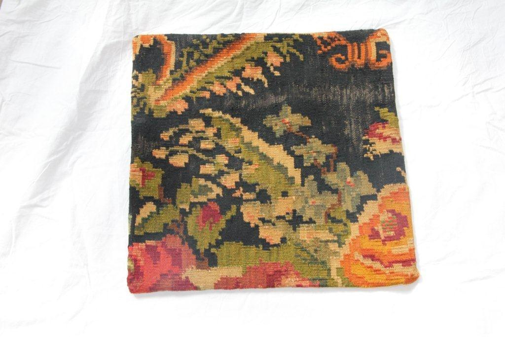 Kelim kussen no 664 (50cm x 50cm) Vintage kussen gemaakt van bloemen kelim uit Moldavie