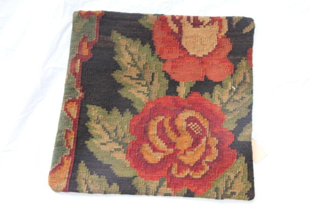 Kelim kussen no 666 (50cm x 50cm) Vintage kussen gemaakt van bloemen kelim uit Moldavie