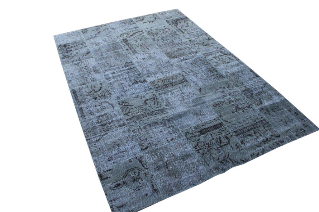 Patchwork vloerkleed, groengrijs, 300cm x 206cm (Er laad een naadje los, daarom special prijs!)
