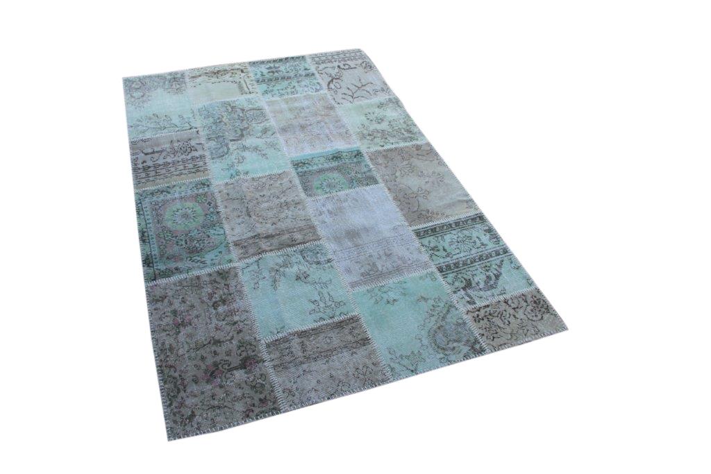 Groen grijs patchwork vloerkleed uit Turkije  245cm x 161cm, no 6808