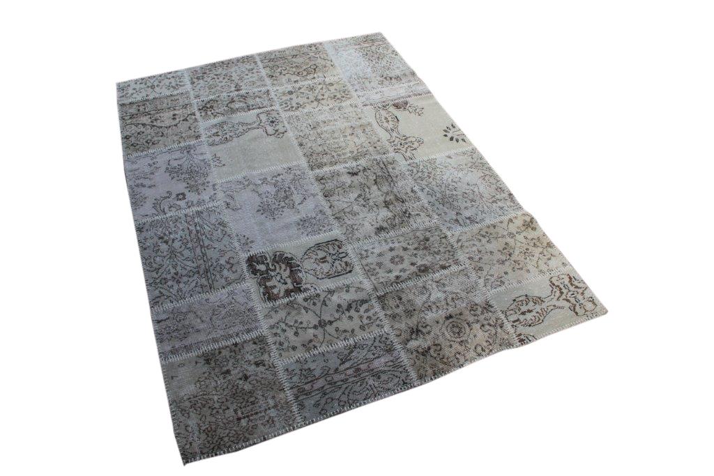 Zandkleurig patchwork vloerkleed uit Turkije  240cm x 170cm, no 6965