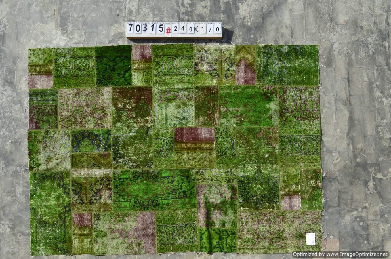 Patchwork vloerkleed uit Iran  70315  (240cm x 170cm) gemaakt vintage vloerkleden incl.onderkleed van katoen.