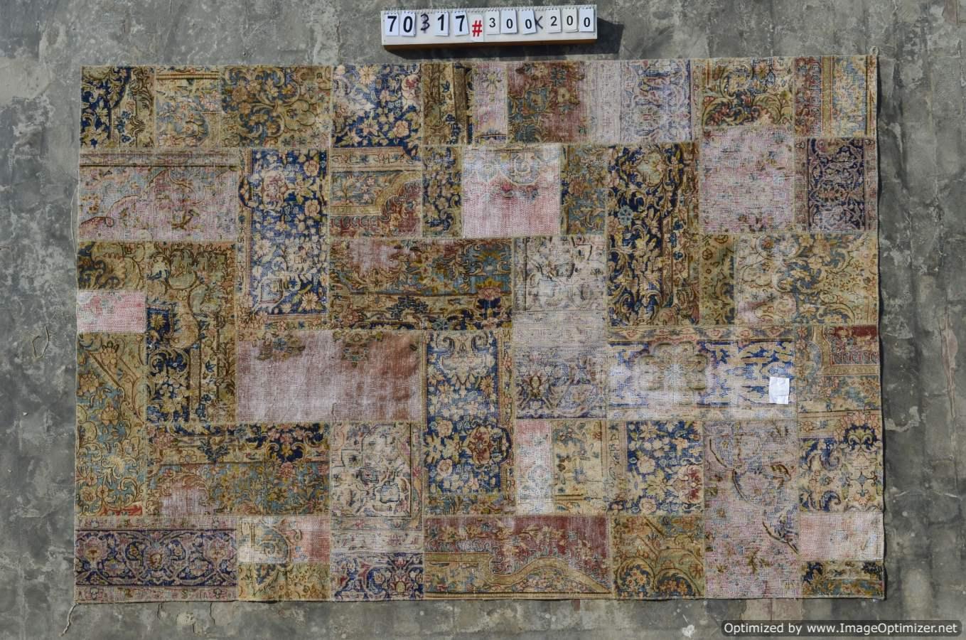Patchwork vloerkleed uit Iran  70317  (300cm x 200cm) gemaakt vintage vloerkleden incl.onderkleed van katoen.