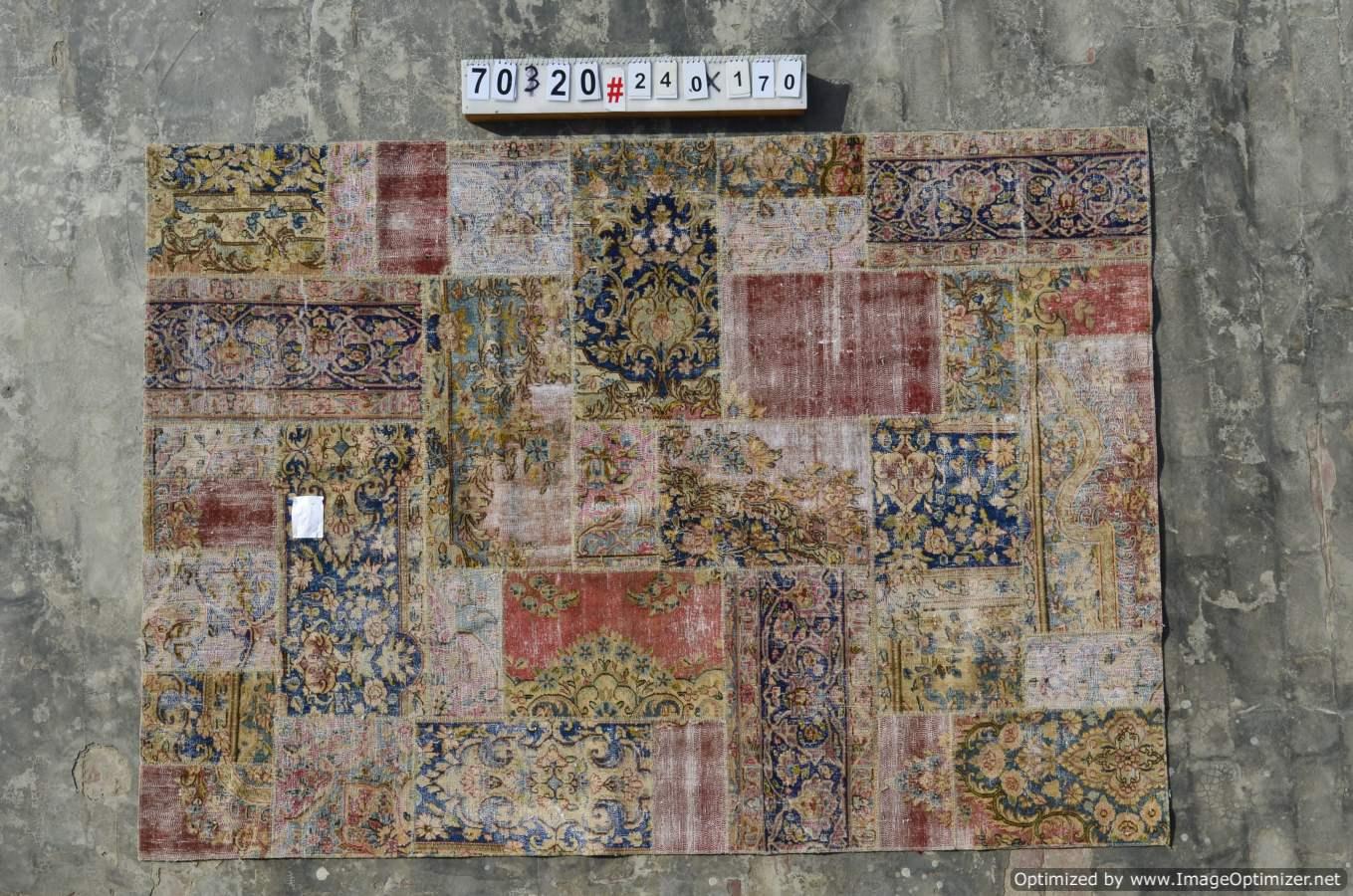 Patchwork vloerkleed uit Iran  70320  (240cm x 170cm) gemaakt vintage vloerkleden incl.onderkleed van katoen.