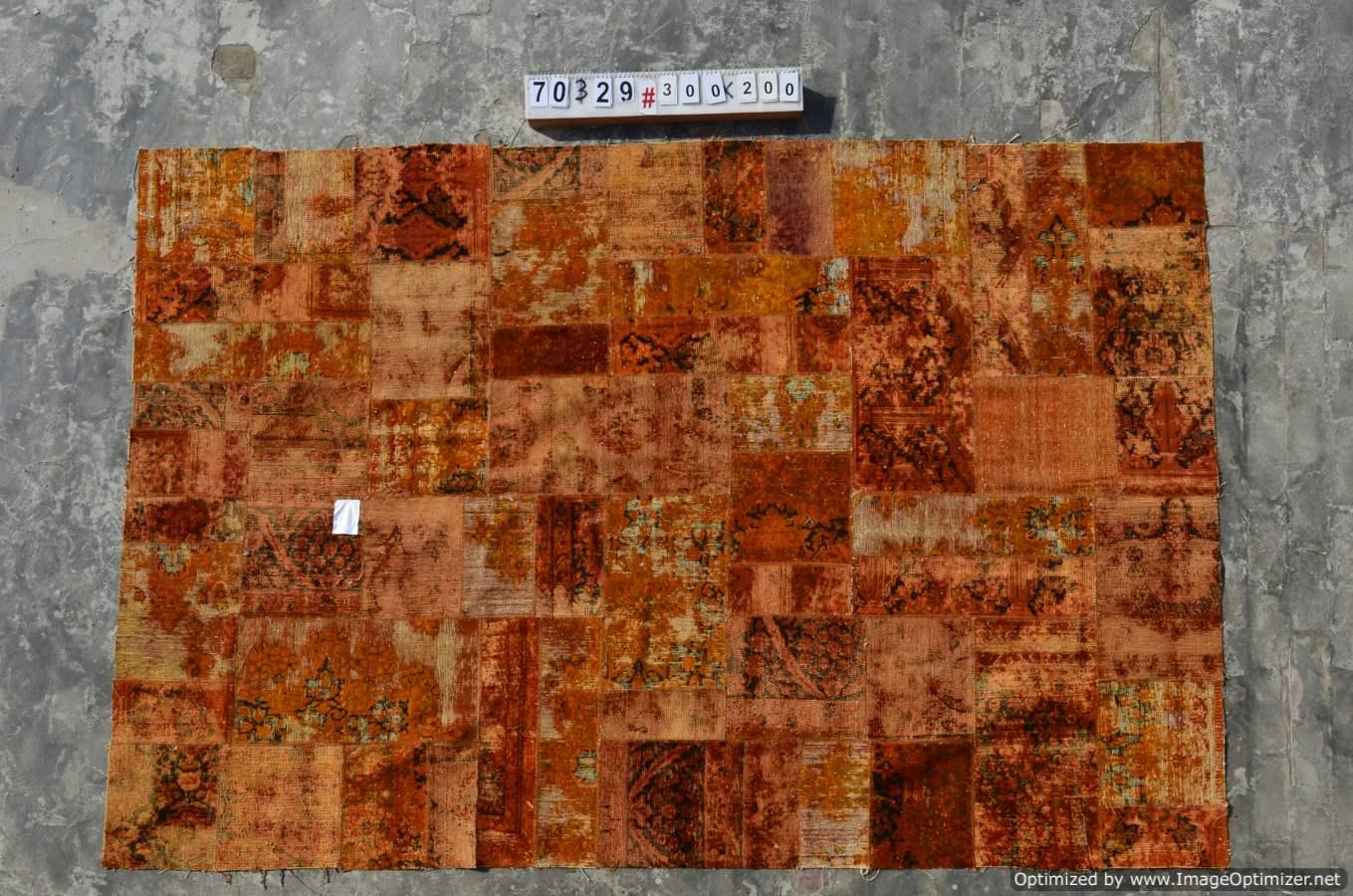 Patchwork vloerkleed uit Iran  70329  (300cm x 200cm) gemaakt vintage vloerkleden incl.onderkleed van katoen.