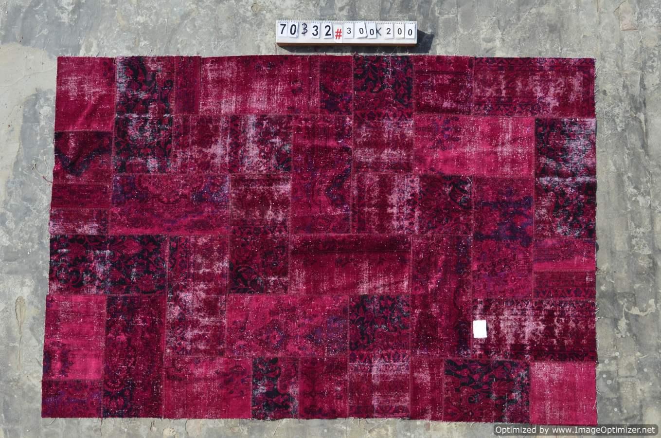 Patchwork vloerkleed uit Iran  70332  (300cm x 200cm) gemaakt vintage vloerkleden incl.onderkleed van katoen.