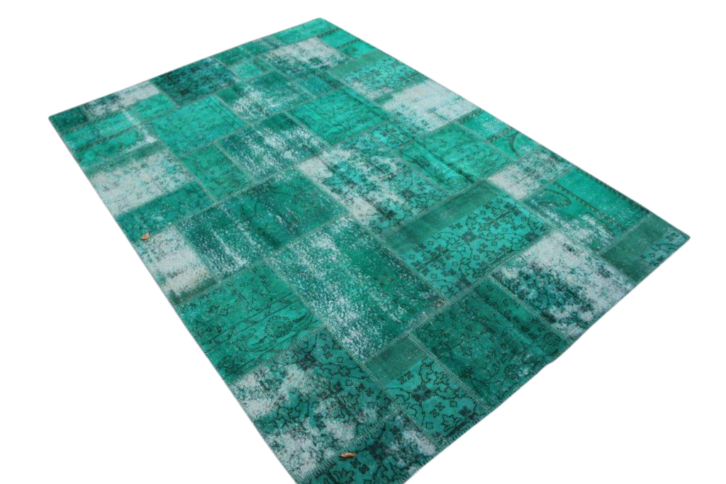 Zeegroen patchwork vloerkleed 7035D (300cm x 208cm) gemaakt van oude recoloured vloerkleden
