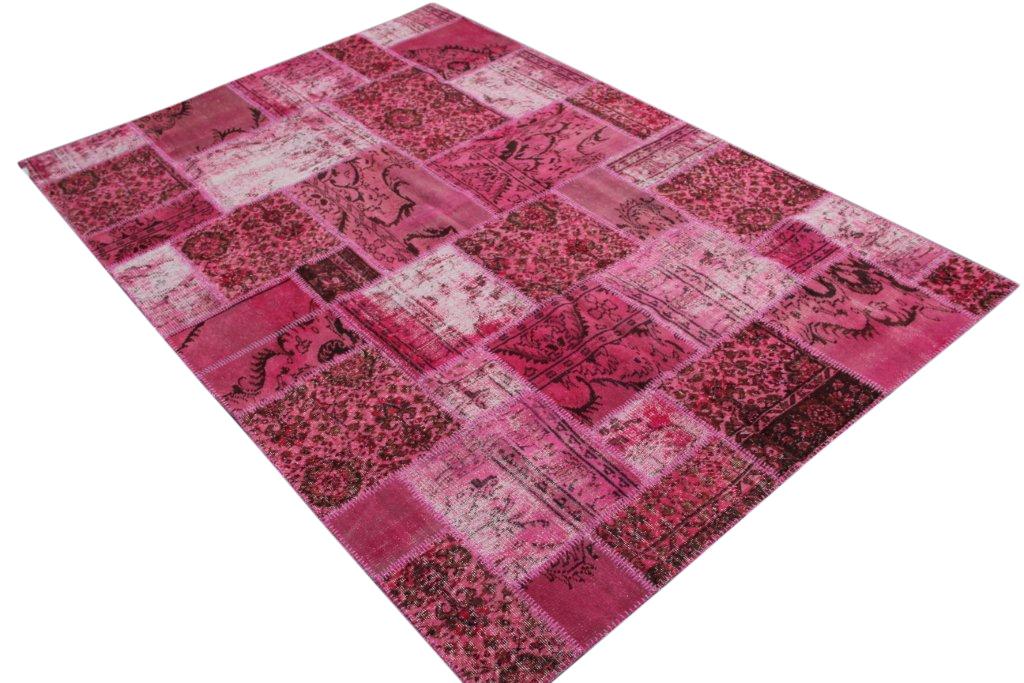Roze patchwork vloerkleed   7041 (301cm x 208cm) gemaakt vintage vloerkleden incl.onderkleed van katoen.