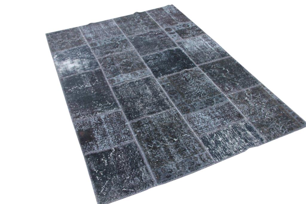 Zwart patchwork vloerkleed 246cm x 177cm (nr7072)