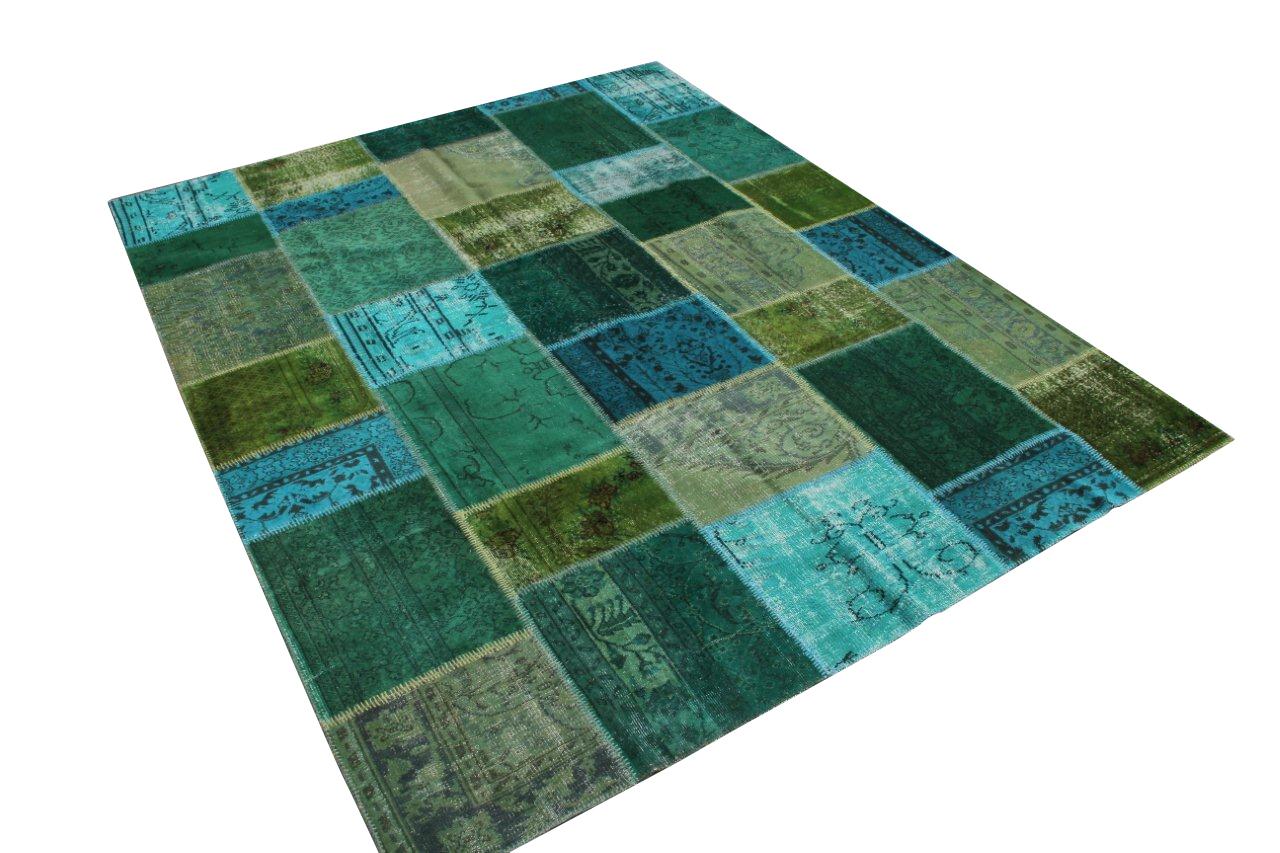 Groen blauw patchwork vloerkleed 7080 (305cm x 246cm) gemaakt van oude recoloured vloerkleden